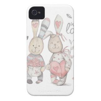banny rabbit couple 2 Case-Mate iPhone 4 cases