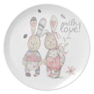 banny rabbit couple 2 dinner plate