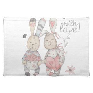 banny rabbit couple 2 placemat