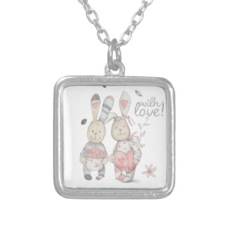 banny rabbit couple 2 silver plated necklace