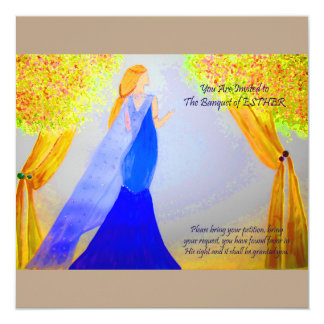 "Banquet of Esther 5.25"" Square Invitation Card"