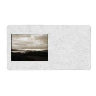 Bantry Bay from Tunnel Road Ireland. Sepia Colors. Shipping Label