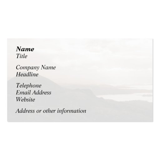 Bantry Bay, Tunnel Road Ireland. Warm Sepia Colors Business Card Template