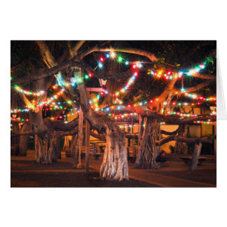Banyan Tree with Holiday Lights Card