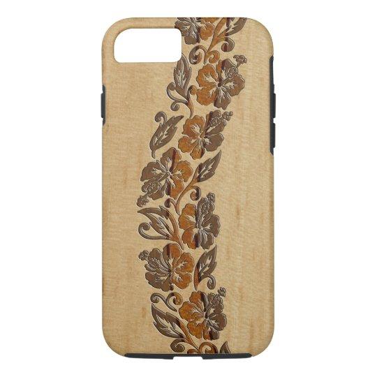 Banyans Hawaiian Hibiscus Faux Wood Surfboard iPhone 8/7 Case