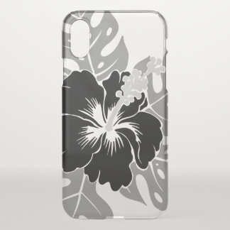 Banzai Beach Hawaiian Hibiscus Floral - Black iPhone X Case