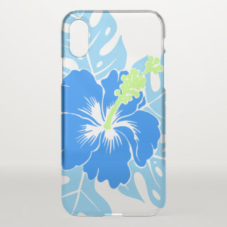 Banzai Beach Hawaiian Hibiscus Floral - Blue iPhone X Case