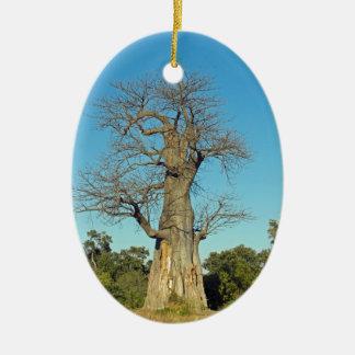 BAOBAB TREE BOTSWANA CERAMIC OVAL ORNAMENT