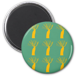 Baobabs gold on eco green magnet