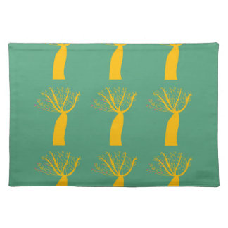 Baobabs gold on eco green placemat