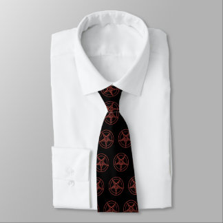 Baphomat Neck Tie (Black/W Red Baphomat)