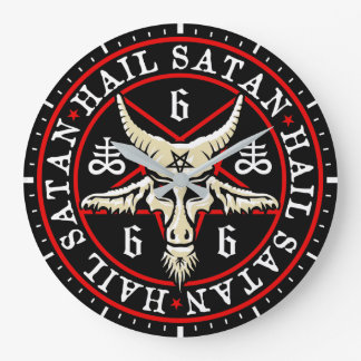 Baphomet Goat in Inverted Pentagram Large Clock