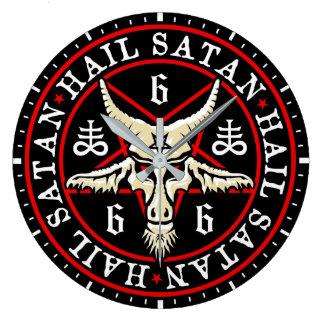 Baphomet Goat in Inverted Pentagram Wallclocks