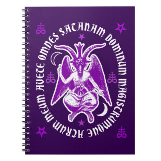 "Baphomet with Latin ""Hail Satan"" Inscription Spiral Notebook"