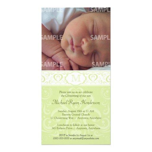 Baptême/baptême verts de monogramme de damassé cartes de vœux avec photo
