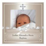 Baptême beige de croix de bijou de cadre de photo bristols