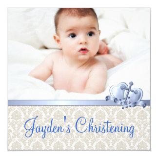 Baptême beige et bleu de photo de garçons de carton d'invitation  13,33 cm