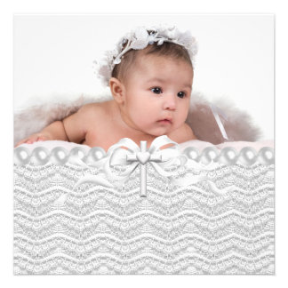 Baptême blanc croisé de photo de filles de dentell cartons d'invitation personnalisés