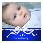 Baptême blanc de photo de bébé de bleu marine invitations personnalisées