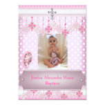 Baptême blanc rose 2 de croix de cadre de photo de invitations