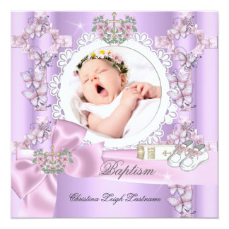 Baptême blanc rose lilas de photo de fille de carton d'invitation  13,33 cm