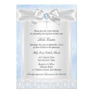 Baptême bleu de baptême de croix de dentelle carton d'invitation  12,7 cm x 17,78 cm