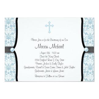 Baptême bleu de damassé de noir bleu de croix de carton d'invitation  12,7 cm x 17,78 cm
