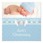 Baptême bleu de photo d'oeillet de garçons ens invitation personnalisée