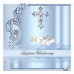 Baptême croisé bleu de damassé de garçon de baptêm