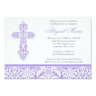 Baptême croisé fleuri lilas de baptême de fille de carton d'invitation  12,7 cm x 17,78 cm