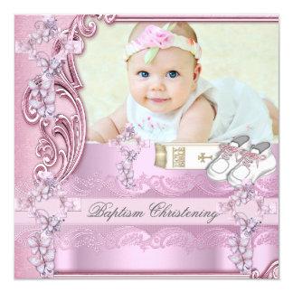 Baptême croisé rose de photo de fille de baptême carton d'invitation  13,33 cm