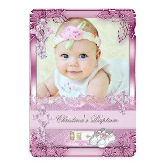 Baptême croisé rose de photo de fille de baptême carton d'invitation  12,7 cm x 17,78 cm