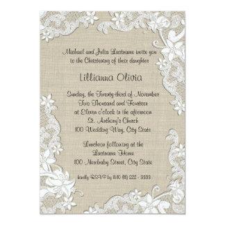 Baptême de bébé de toile de jute carton d'invitation  12,7 cm x 17,78 cm