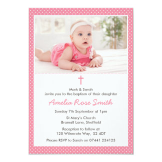 Baptême de filles/invitation de baptême carton d'invitation  12,7 cm x 17,78 cm
