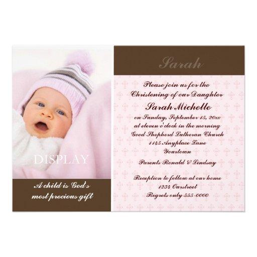 Baptême de photo de filles invitation personnalisable