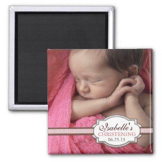 Baptême doux Brown de bébé et photo rose Magnet Carré