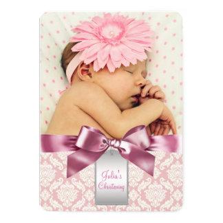 Baptême en ivoire et rose de photo de bébé de carton d'invitation  12,7 cm x 17,78 cm