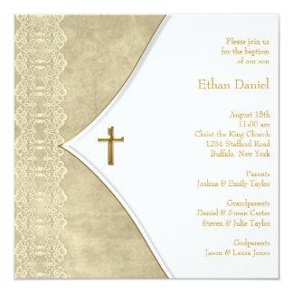Baptême en ivoire vintage de bébé de croix d'or carton d'invitation  13,33 cm