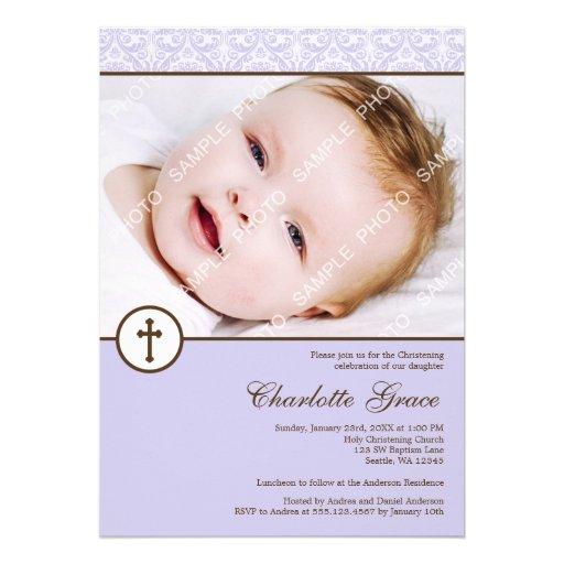 Baptême lilas de baptême de photo de fille de croi bristol personnalisé