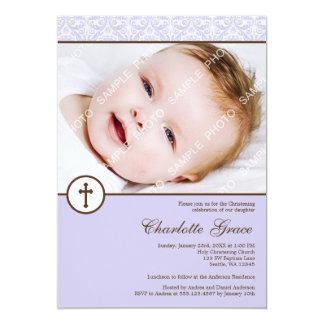 Baptême lilas de baptême de photo de fille de carton d'invitation  12,7 cm x 17,78 cm