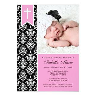 Baptême noir rose de photo de croix de bannière de carton d'invitation  12,7 cm x 17,78 cm