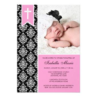 Baptême noir rose de photo de croix de bannière de invitations personnalisées