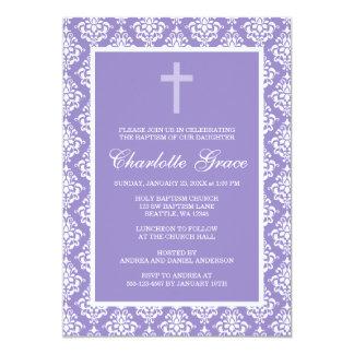 Baptême pourpre de baptême de fille de croix de carton d'invitation  12,7 cm x 17,78 cm