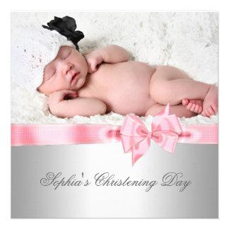 Baptême rose argenté de photo de fille d arc de da invitations personnalisées
