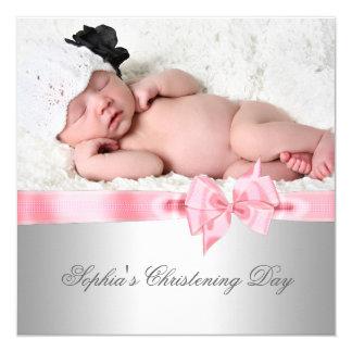 Baptême rose argenté de photo de fille d'arc de carton d'invitation  13,33 cm