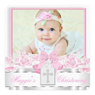 Baptême rose croisé blanc élégant de photo carton d'invitation  13,33 cm