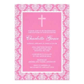 Baptême rose de baptême de fille de croix de damas faire-part personnalisés