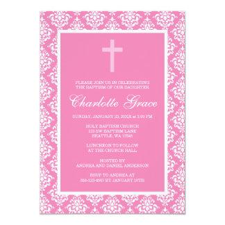 Baptême rose de baptême de fille de croix de faire-part personnalisés