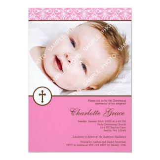 Baptême rose de baptême de photo de fille de croix carton d'invitation  12,7 cm x 17,78 cm