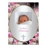 Baptême rose de bijou de cadre de photo de fleur invitation personnalisée